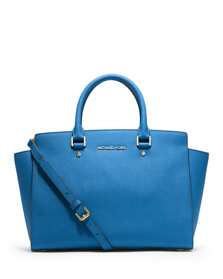 Selma Large Saffiano Satchel Bag Heritage Blue