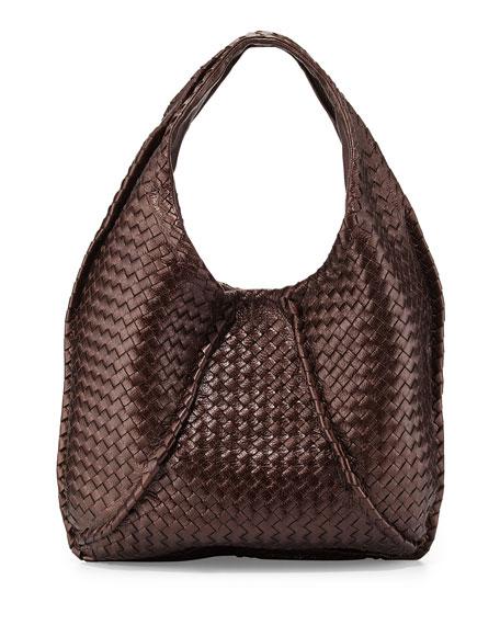 982a7214407 Bottega Veneta Cervo Large Metallic Hobo Bag, Metallic Dark Brown