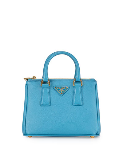Saffiano Mini Galleria Crossbody Bag, Blue (Celeste)