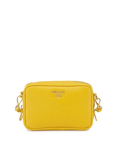 Saffiano Small Crossbody Bag, Yellow (Soleil)