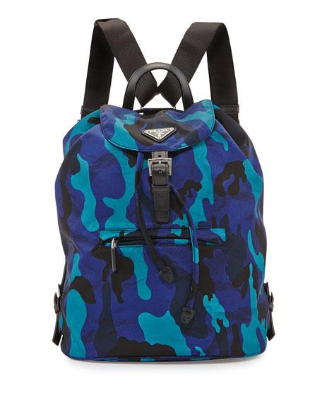 8c088b7a6f23 Prada Tessuto Camouflage Backpack, Blue (Royal)