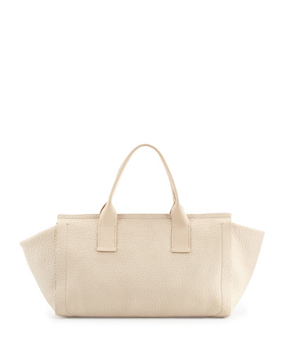 Small Grained Calfskin East-West Tote Bag, Off White