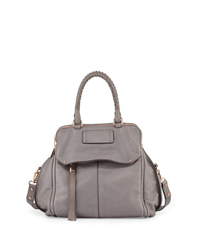 Angela Leather Satchel Bag, Cement Gray