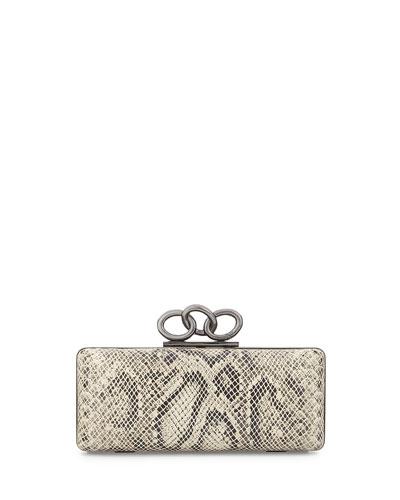Sutra Snake-Embossed Clutch Bag, Natural