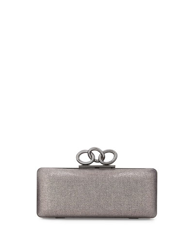Sutra Mini Metallic Clutch Bag, Pewter