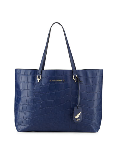 Voyage Ready-to-Go Croc-Print Tote Bag, Marine