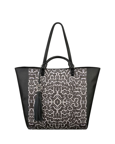 Joey Printed Leather Tote Bag, Black/White/Coral