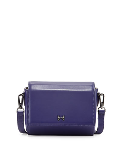 Structured Mini Leather Crossbody Bag, Violet