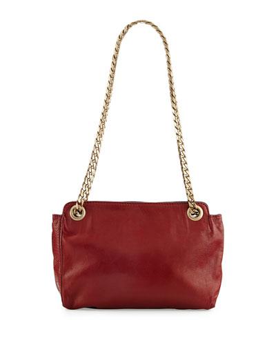 Paco Napa Leather Shoulder Bag, Carnelian