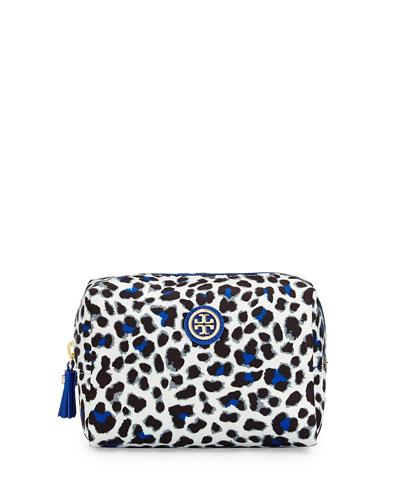 Bridgitte Leopard Print Cosmetic Bag, Jelly Blue
