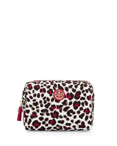 Bridgitte Leopard Print Cosmetic Bag, Carnation