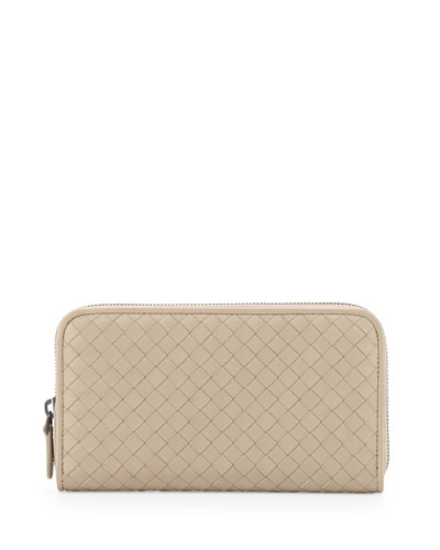 Woven Continental Zip-Around Wallet, New Sand Light Gray