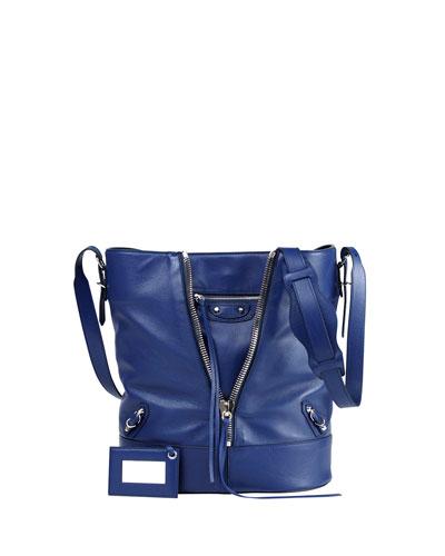 Paper Zip Bucket Bag, Blue