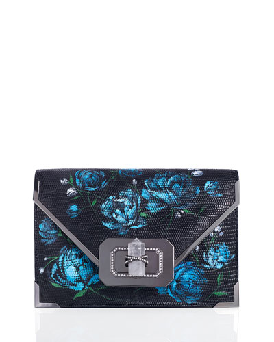 Valentina Floral Lizard Envelope Clutch Bag, Blue