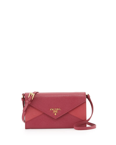 Saffiano Wallet-On-a-Strap, Pink/Dark Pink (Peonia+Ibisco)