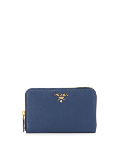 Saffiano Leather French Wallet, Blue (Bluette)