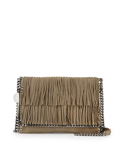 Fringe Faux-Leather Shoulder Bag, Nude