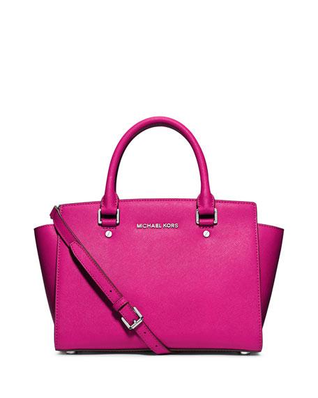 Selma Medium Top Zipped Satchel Bag in Black Saffia Leather Michael Michael Kors lgQCMQt