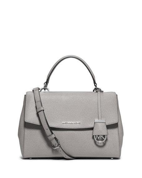 cc1e328255d0 MICHAEL Michael Kors Ava Medium Leather Satchel Bag, Pearl Gray