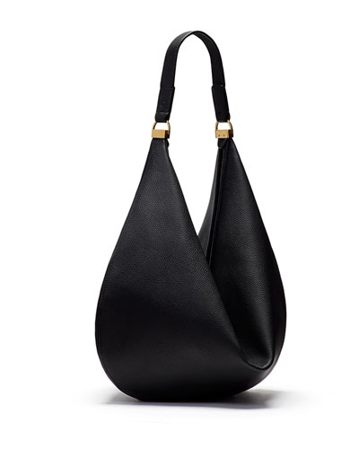 Sling 12 Calfskin Hobo Bag, Black