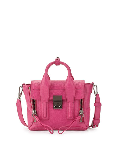 Pashli Mini Leather Satchel Bag, Bright Fuchsia