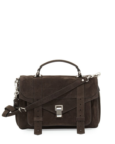 PS1 Medium Suede Satchel Bag, Pepe