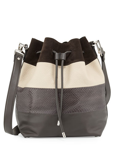 Leather & Snake Paneled Bucket Bag, Pepe/Talc