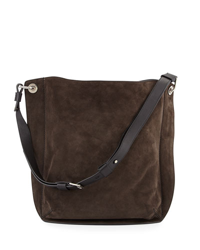 Prospect Suede Large Hobo Bag, Pepe