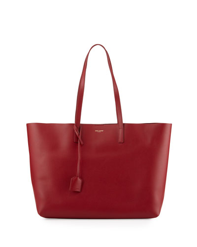 Large East-West Leather Shopper Bag, Bordeaux