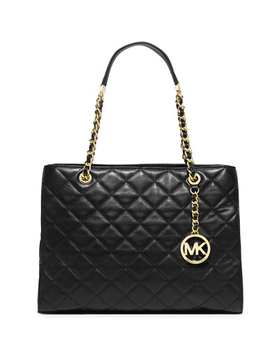 Susannah Large Quilted Tote Bag, Black