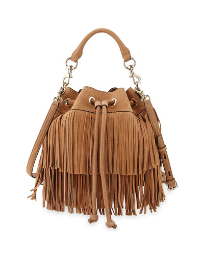 Fiona Suede Fringe Bucket Bag, Cuoio