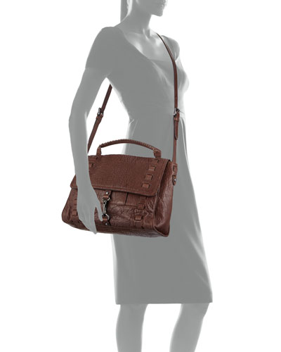 Victoria Crossbody Satchel Bag, Chocolate Brown