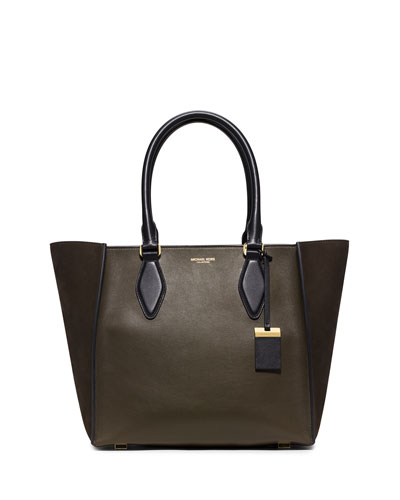 Gracie Large Colorblock Calf Tote Bag, Olive/Black