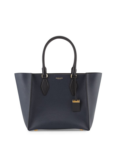 Gracie Large Colorblock Calf Tote Bag, Navy/Black
