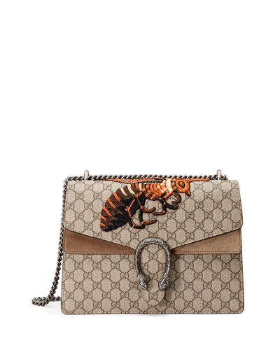 Dionysus GG Supreme Canvas Embroidered Queen Bee Shoulder Bag