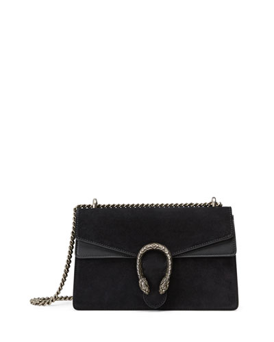 Testa Tigre Small Suede Dionysus Shoulder Bag, Black