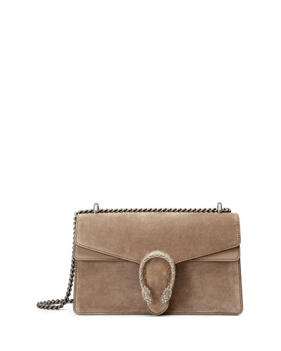 Testa Tigre Small Suede Dionysus Shoulder Bag, Taupe