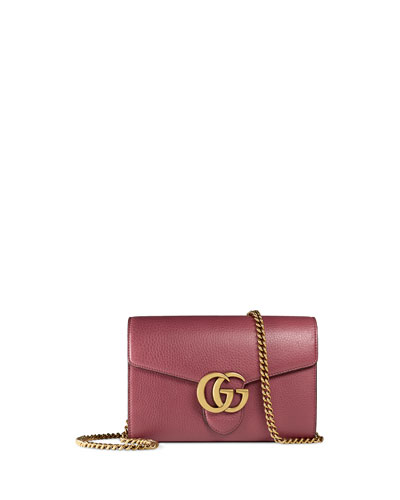 Interlocking GG Marmont Leather Wallet-on-Chain, Rose