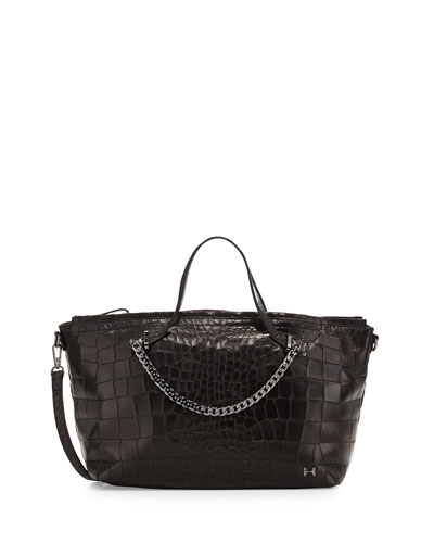 Leather Satchel Bag with Chain Detail, Black
