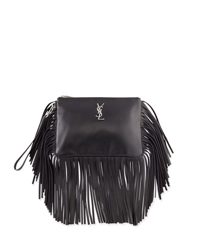 ysl shopper bag - mixed-media fringe charm for handbag, black multi