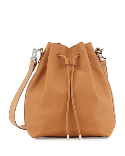 Buffalo Leather Large Bucket Bag w/Pouch, Desert/Copper
