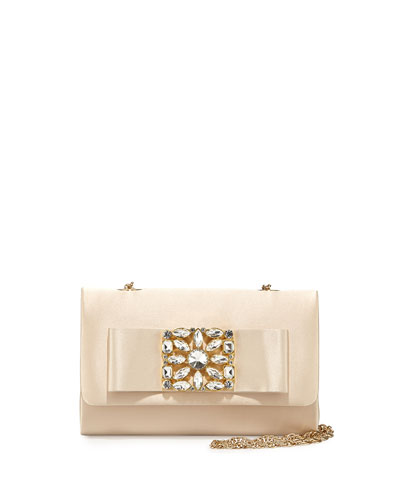 Kyle Silk Ornament Evening Bag, Champagne