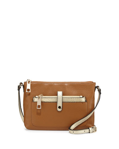 Reese Faux-Leather Crossbody Bag, Cognac