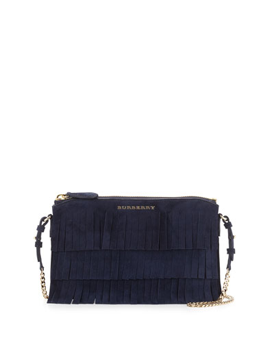 Peyton Fringed Suede Crossbody, Blue Carbon