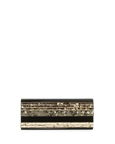 Sweetie Paillette Structured Clutch Bag, Golden