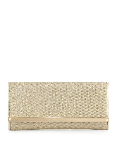 Milla Large Glitter Clutch Bag, Gold