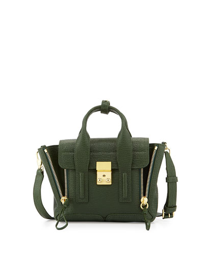 Pashli Mini Leather Satchel Bag, Jade