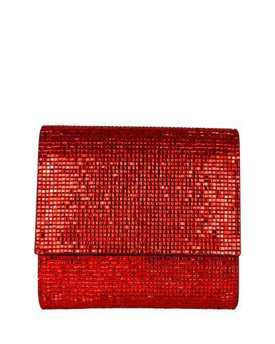 Soho Square-Beaded Crossbody Bag, Silver Cherry
