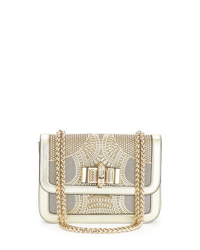 Sweet Charity Small Egypt Laser-Cut Shoulder Bag, Gold