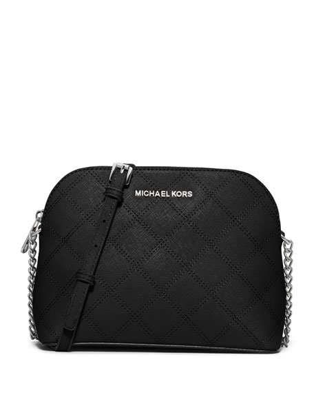b3c86350e8be MICHAEL Michael Kors Cindy Large Dome Quilted Saffiano Crossbody Bag, Black